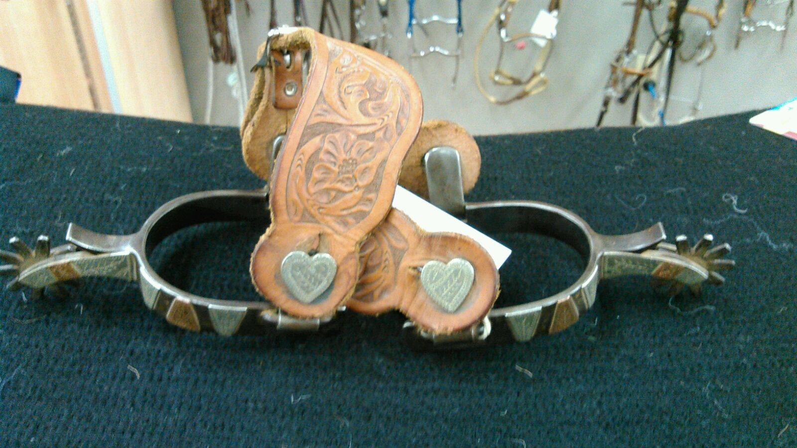 Ladies Heart spurs, by Mel Gnatkowski, Ancho, NM Original leathers